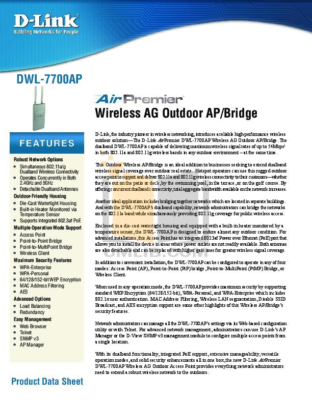 pdf for D-link Other DWL-7700AP manual