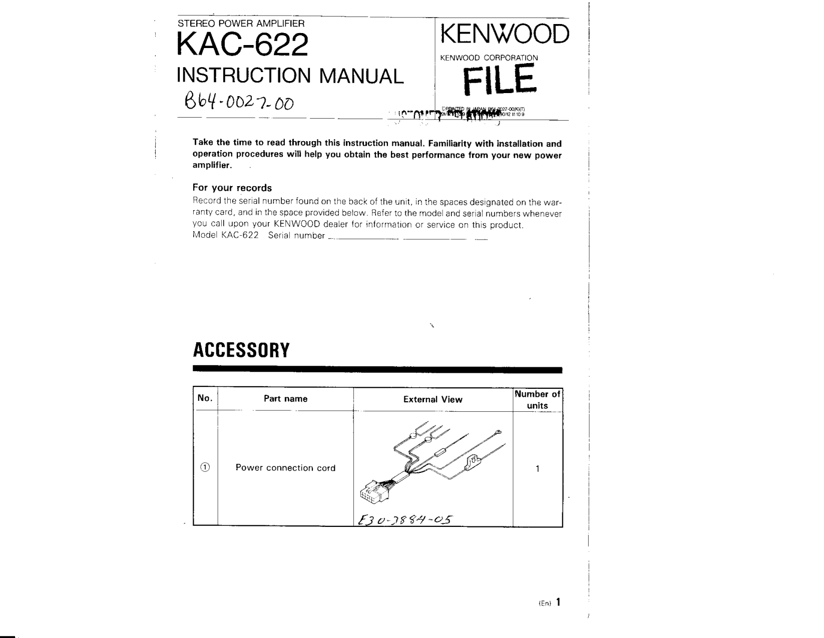 pdf for Kenwood Amp KAC-622 manual