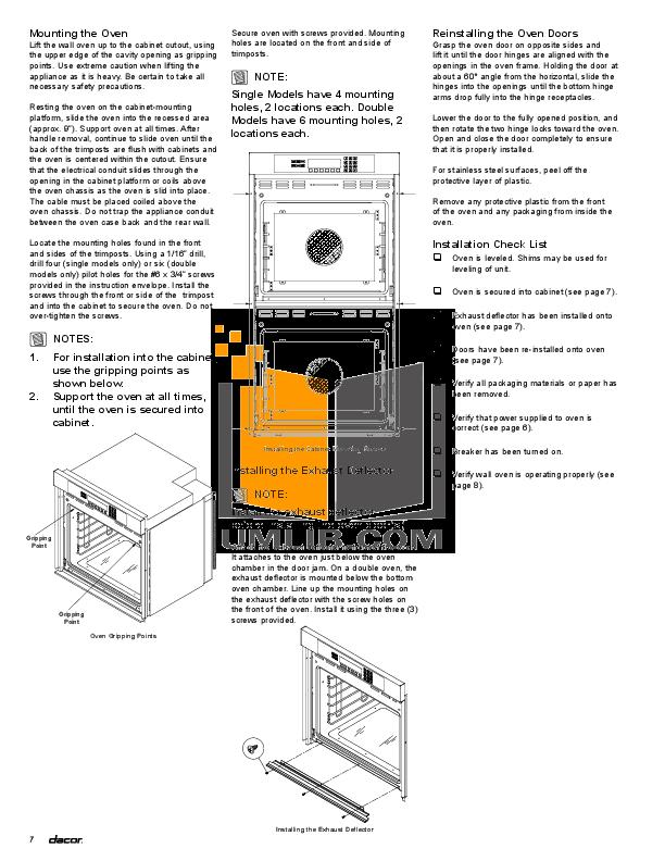 dacor wall oven installation manual design ideas