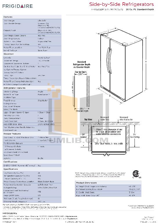 pdf for Frigidaire Refrigerator FFHS2622M manual