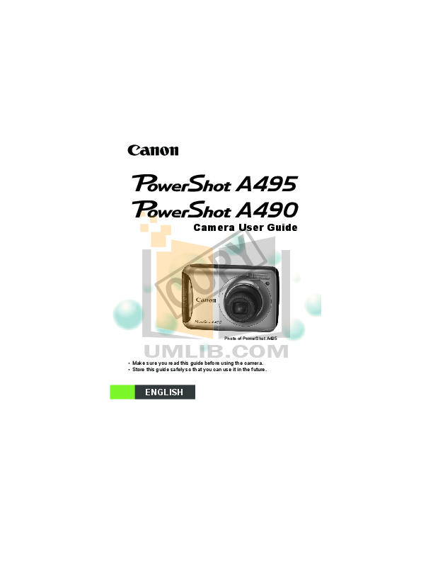 download free pdf for canon powershot a495 digital camera manual rh umlib com Canon PowerShot Digital Camera Tripods for a Canon PowerShot A495