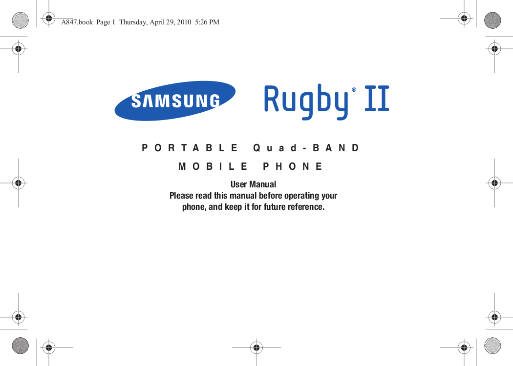 pdf for Samsung Cell Phone Wave 2 Pro manual
