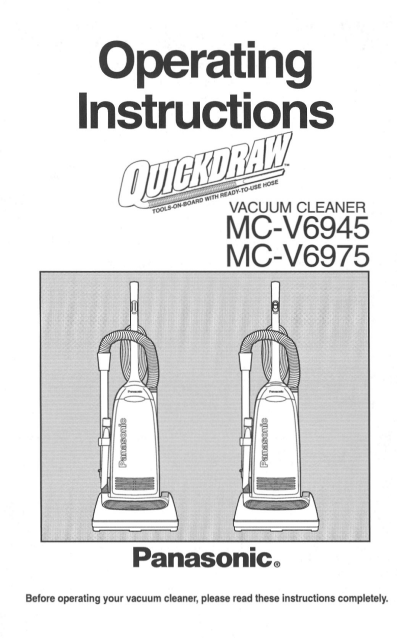 pdf for Panasonic Vacuum MC-V6945 manual