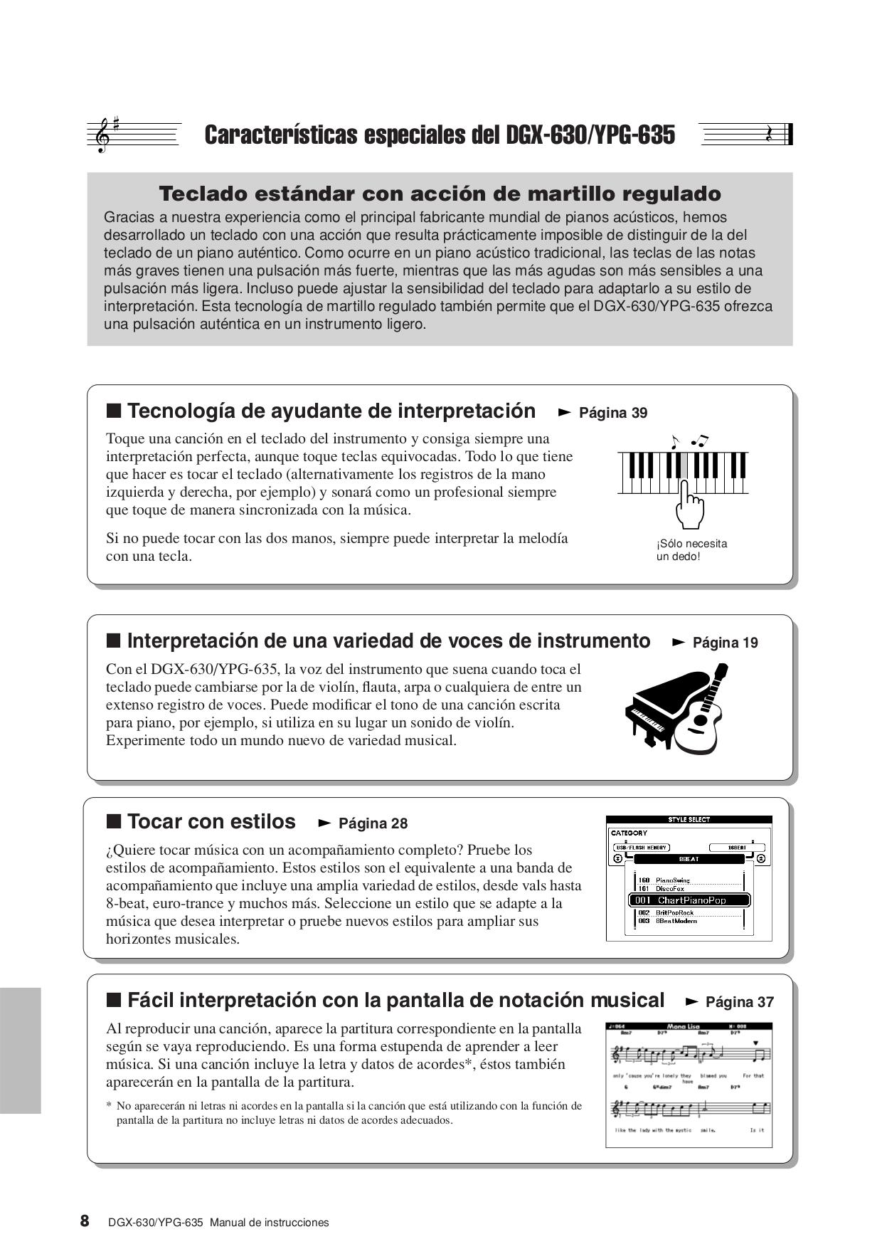 PDF manual for Yamaha Music Keyboard DGX-630