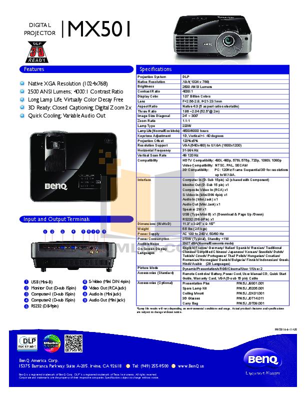 pdf for Benq Projector MX501 manual