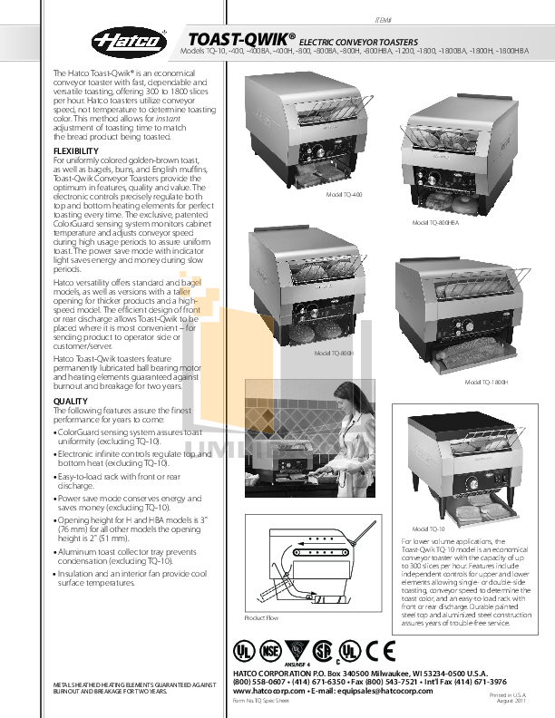 pdf for Hatco Other TQ-1200 manual