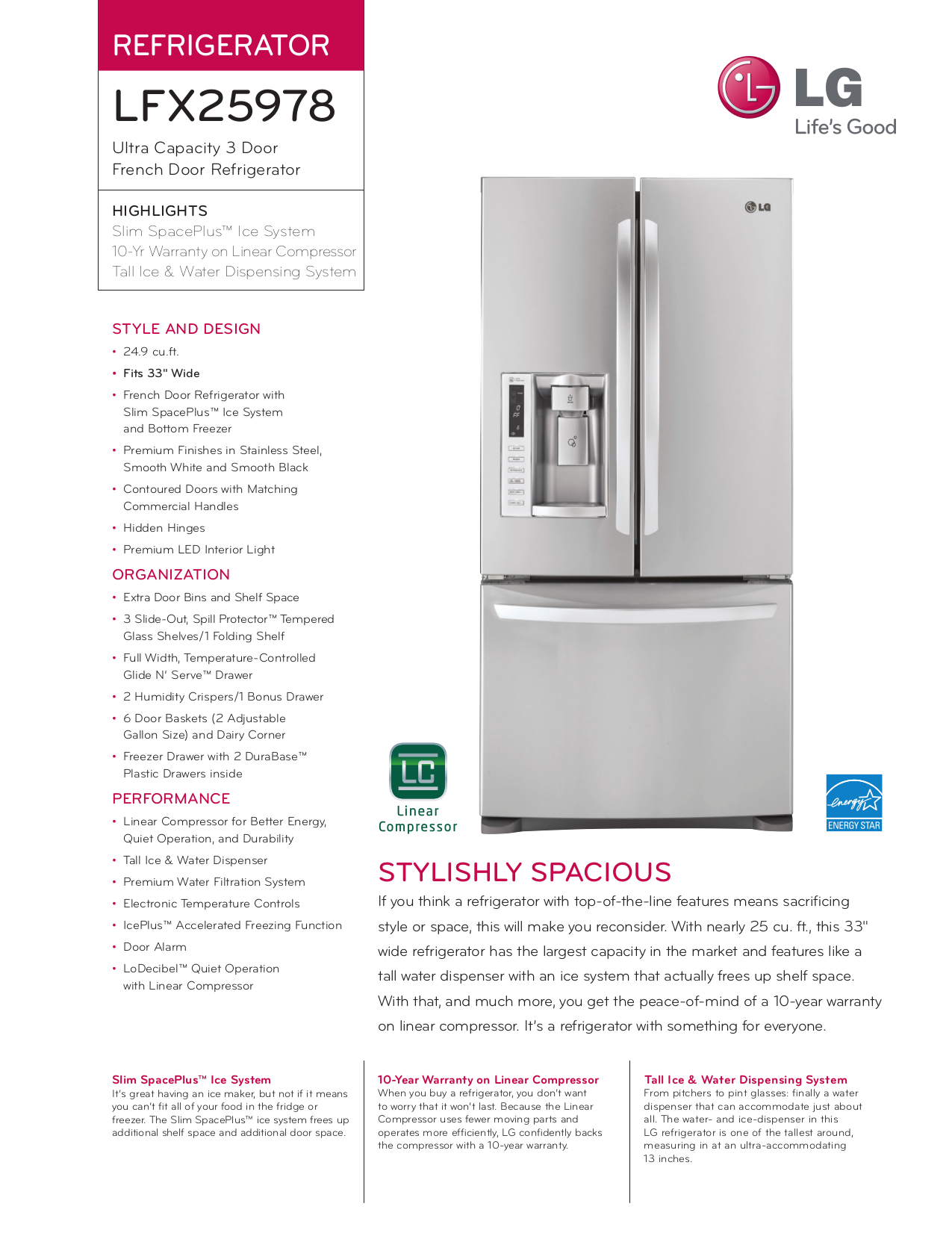 pdf for LG Refrigerator LFX25978 manual