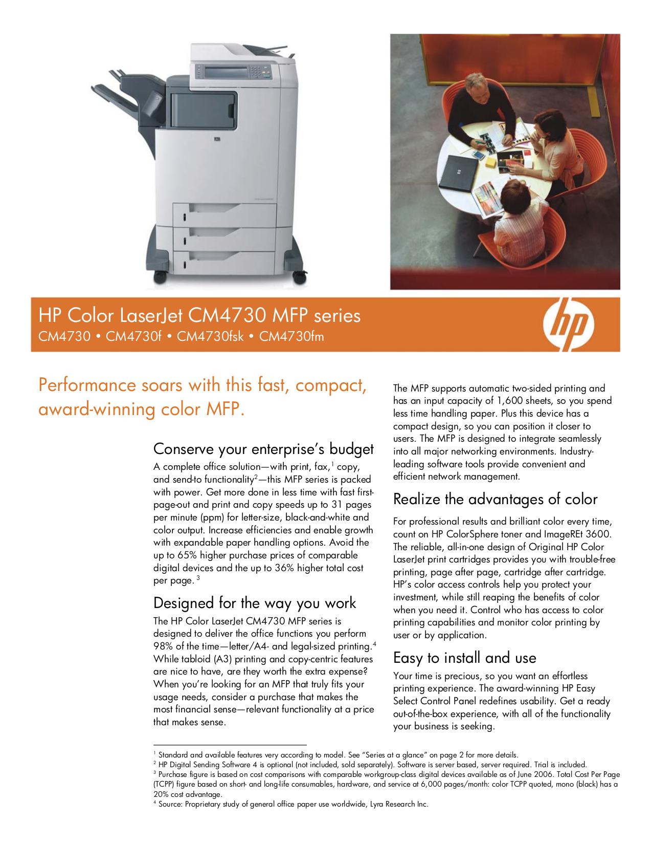HP Multifunction Printer Laserjet,Color Laserjet CM4730fsk pdf page preview