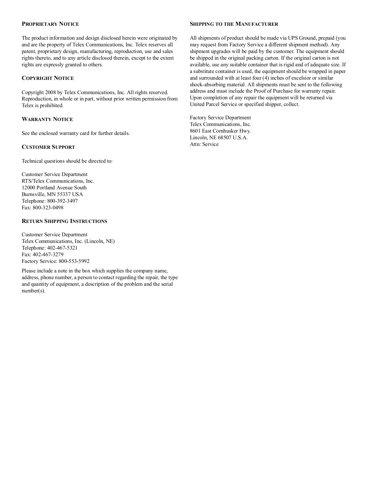 Telex Other KP-98-7 IntercomSystem pdf page preview