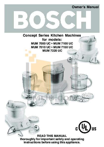 pdf for Bosch Food Processor MUM7010UC manual