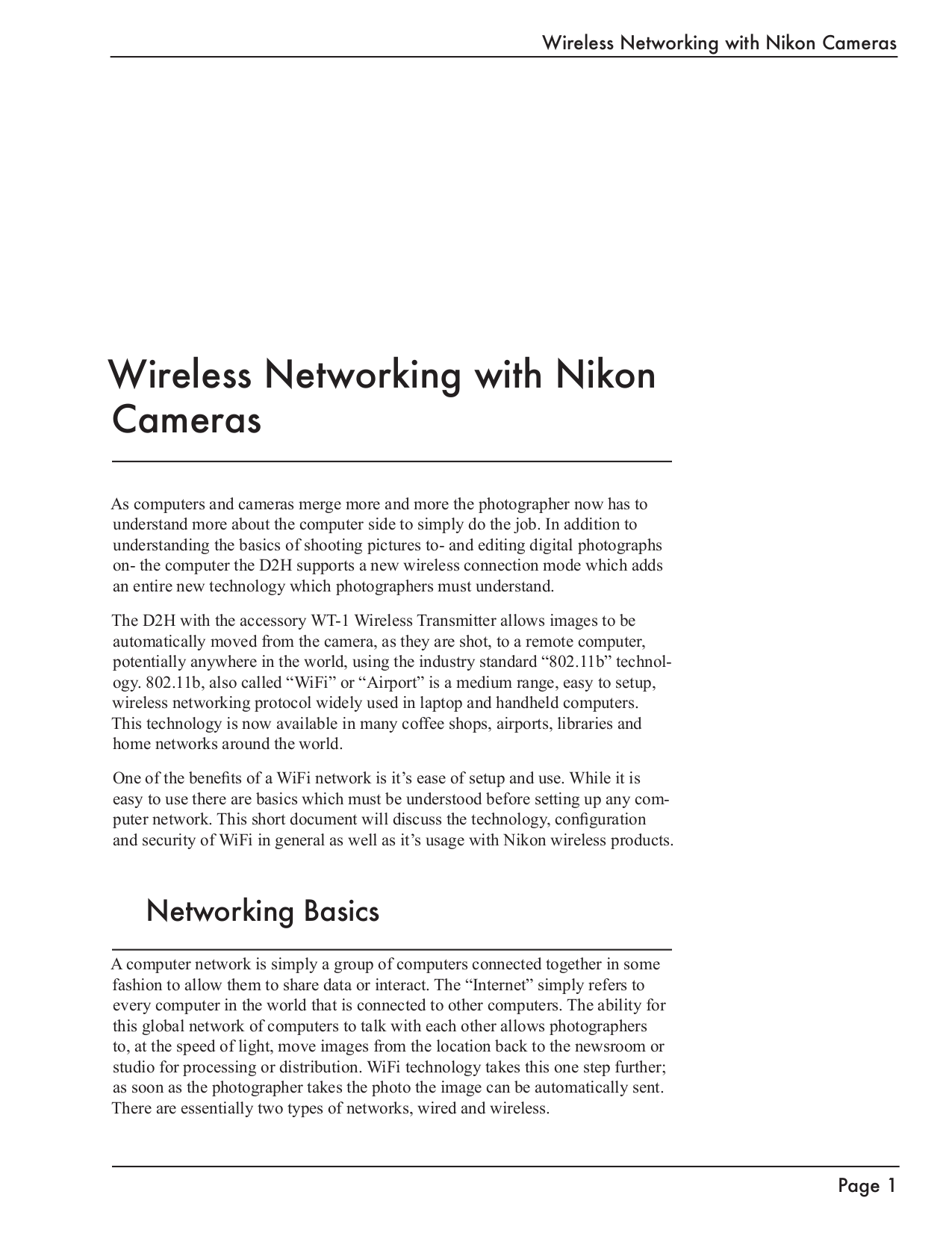 pdf for Nikon Other WT-2A Camera Wireless Transmitter manual