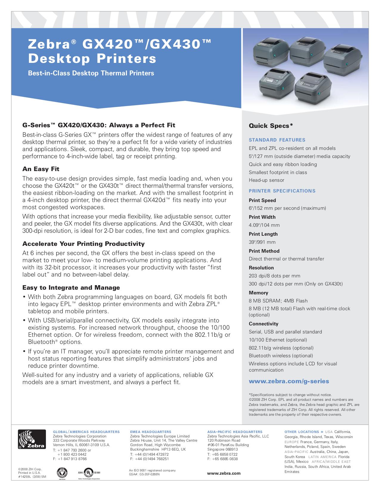 Download free pdf for Zebra GX420t Printer manual