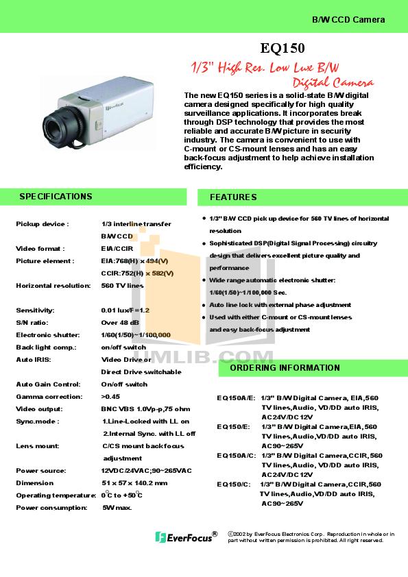 pdf for EverFocus Security Camera EQ150 manual