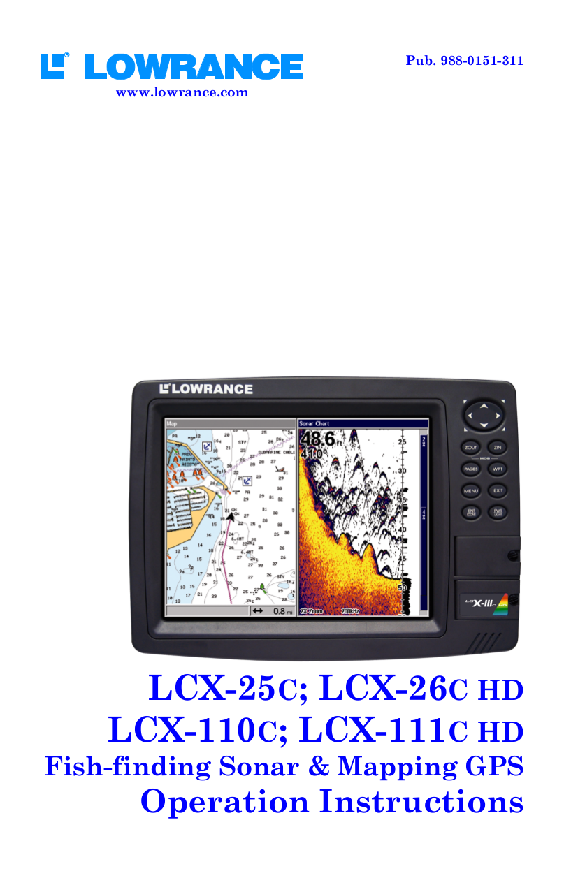 pdf for Lowrance GPS LCX-26C HD manual