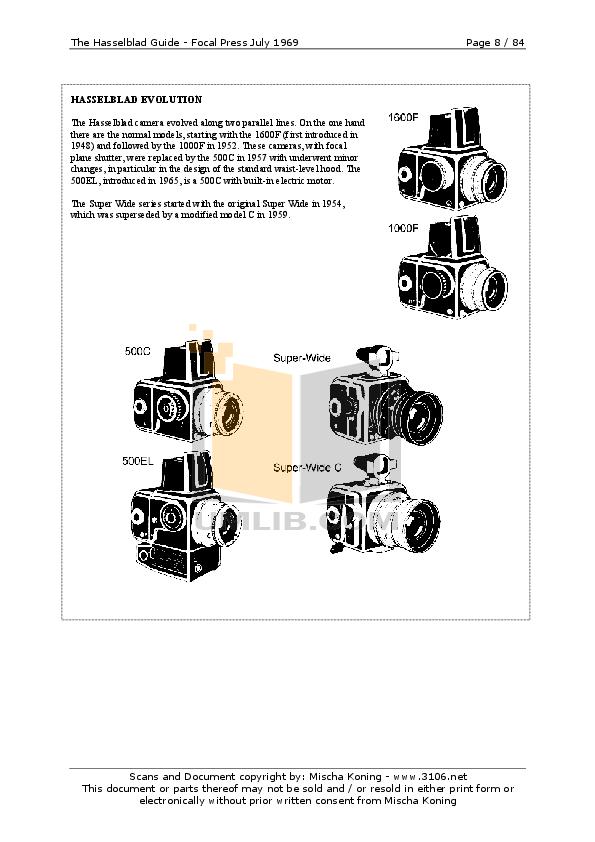 Hasselblad Digital Camera 1600F pdf page preview