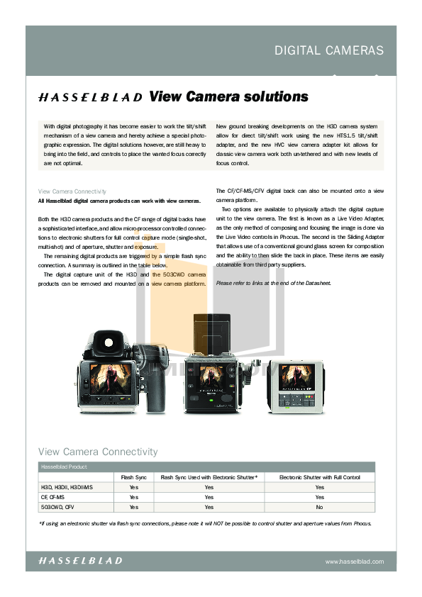 pdf for Hasselblad Digital Camera 1600F manual