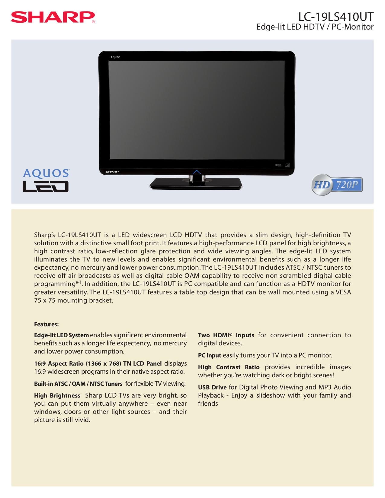pdf for Sharp TV AQUOS LC-19LS410UT manual