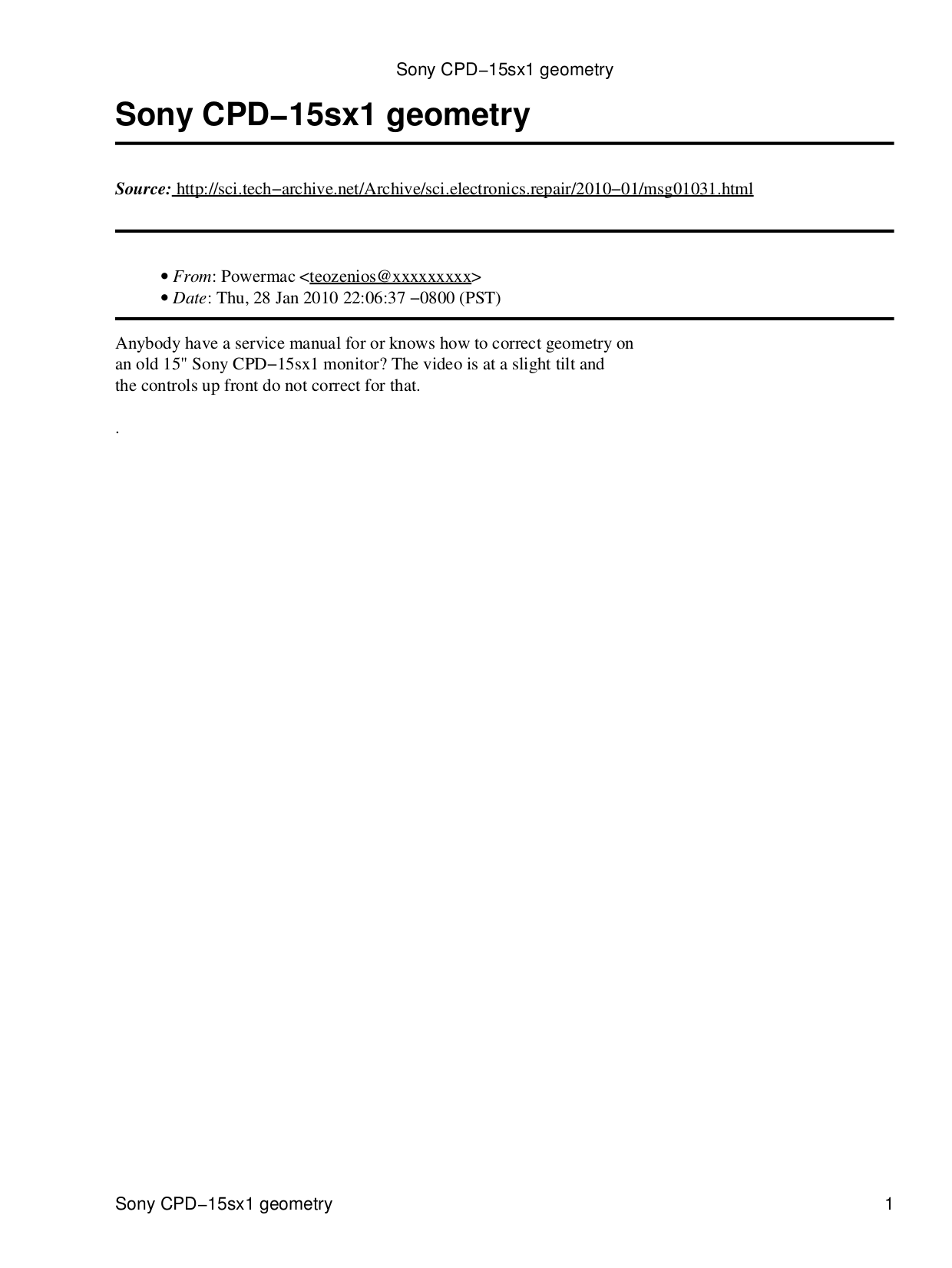 pdf for Sony Monitor CPD-15SX1 manual