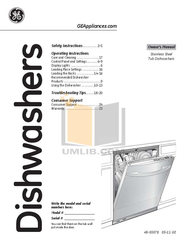 Download Free Pdf For Ge Pdwt280vss Dishwasher Manual