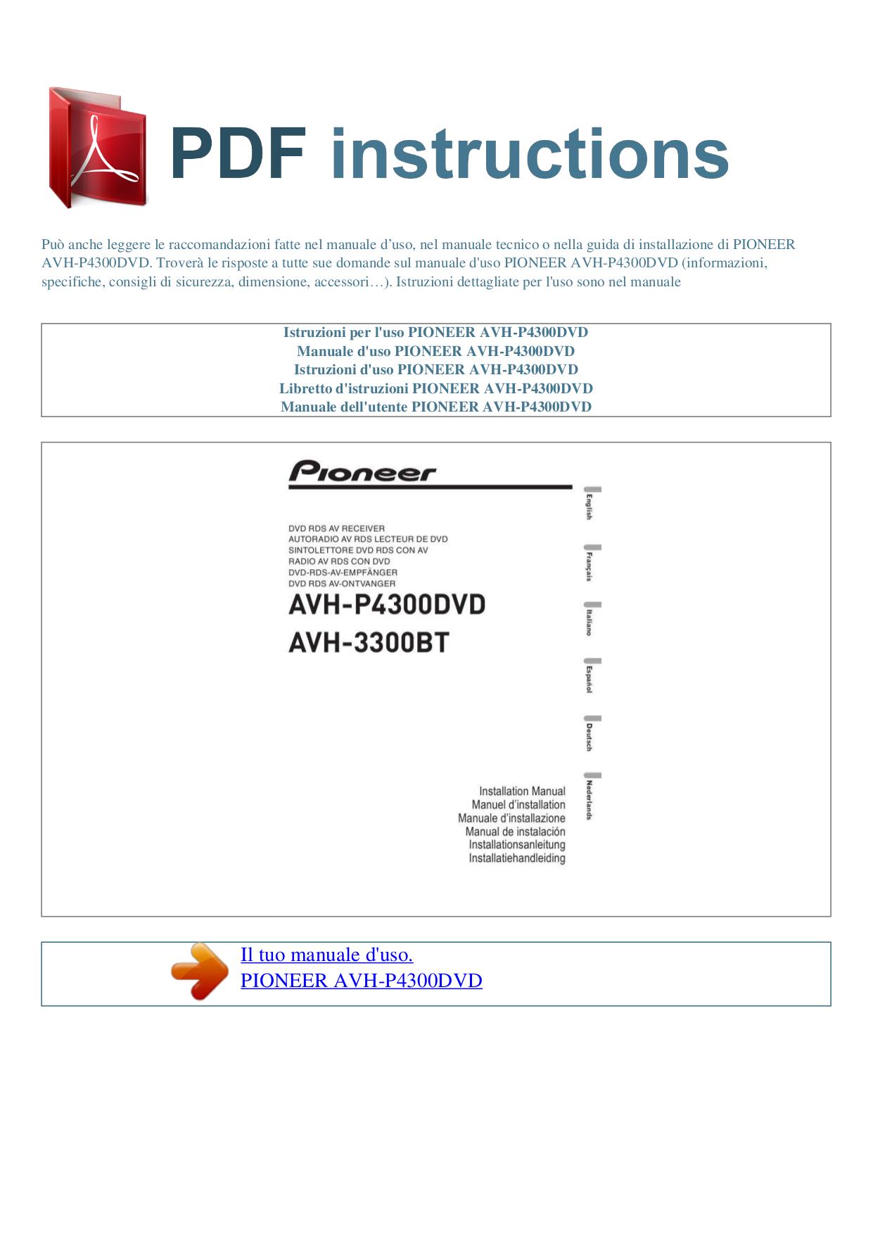 Download Free Pdf For Pioneer Avhp4300dvd Car Video Manual. Pdf For Pioneer Car Video Avhp4300dvd Manual. Wiring. Pioneer Avh P4300 Wiring Diagram At Scoala.co