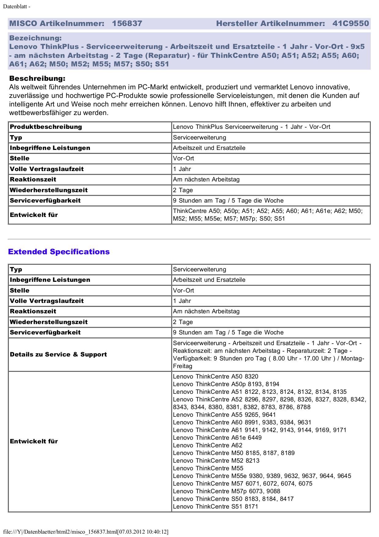 Lenovo Desktop ThinkCentre A55 9380 pdf page preview