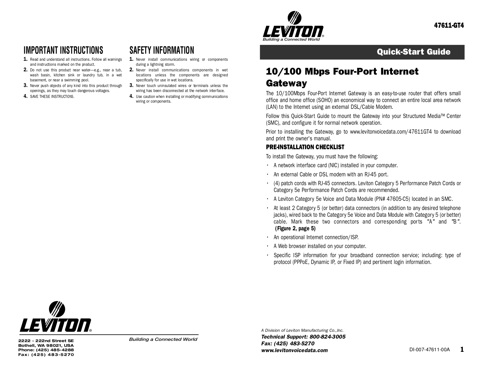 Download free pdf for Leviton 47605-C5B Data Module Other manual