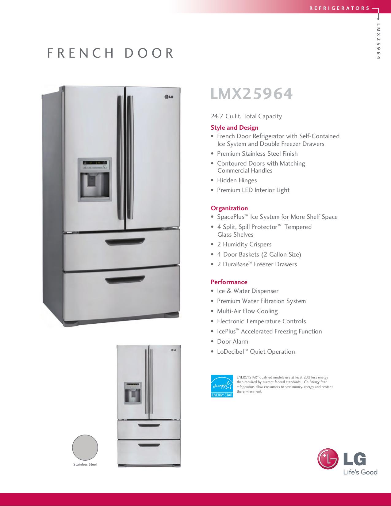pdf for LG Refrigerator LMX25964ST manual
