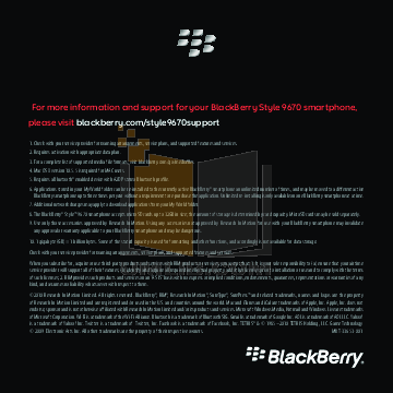 pdf for Blackberry Cell Phone Style 9670 manual