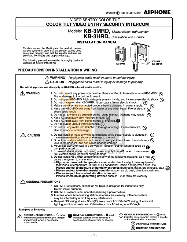 pdf for Aiphone Other CH-B Intercoms manual