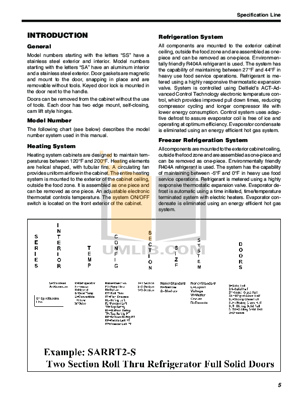 Delfield Refrigerator SAW3-G pdf page preview