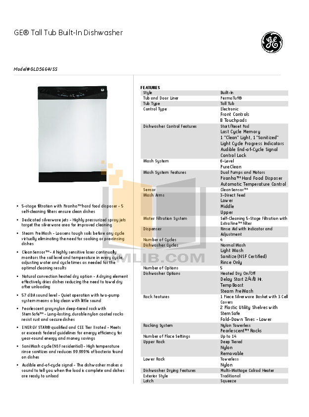 pdf for GE Dishwasher GLD5664VSS manual