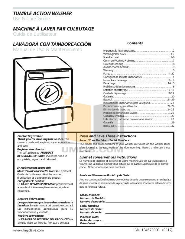 pdf for Frigidaire Washer FTF530E manual