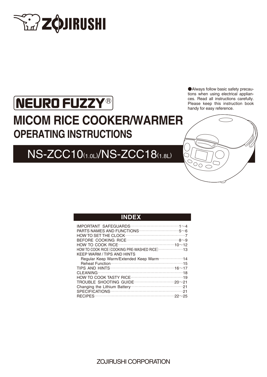 Neuro fuzzy® rice cooker & warmer ns-zcc10/18 | zojirushi. Com.
