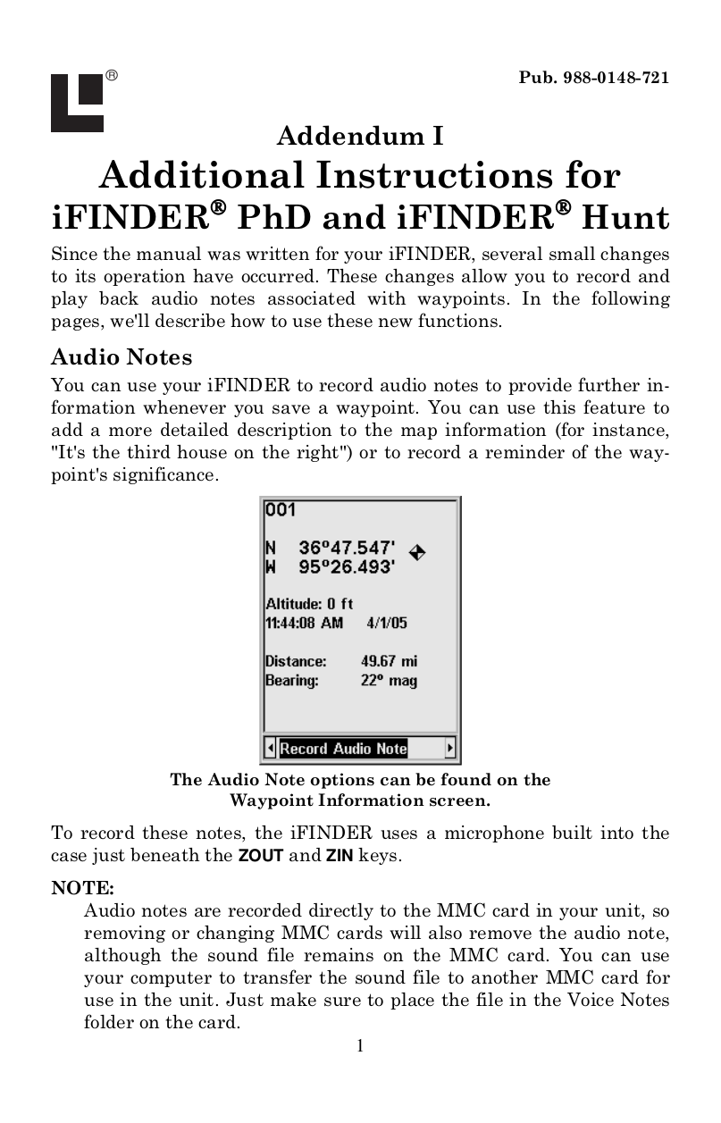 pdf for Lowrance GPS iFINDER PhD manual