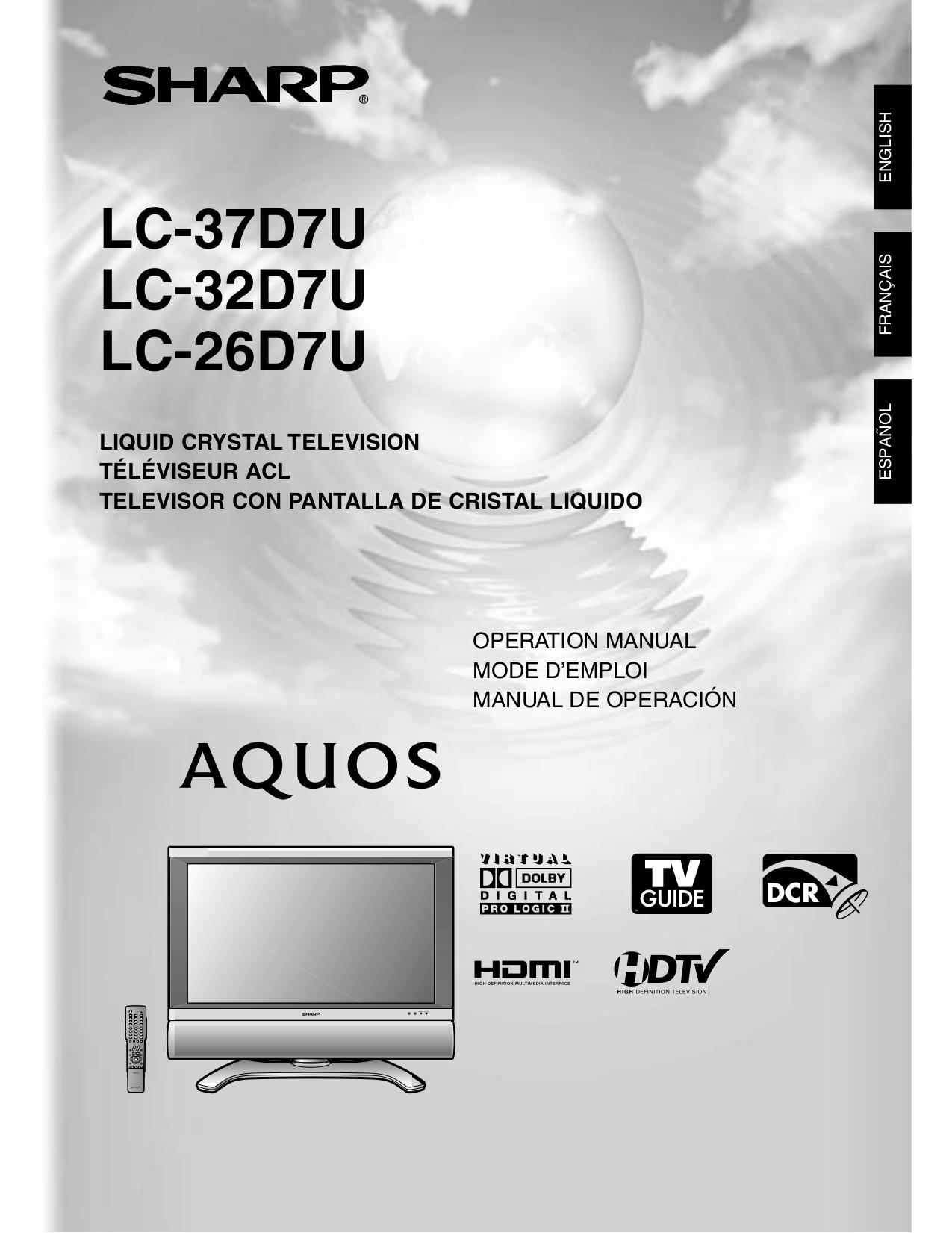 sharp aquos manual free owners manual u2022 rh wordworksbysea com sharp aquos lc-46d85un manual sharp aquos lc 46xd1e manual