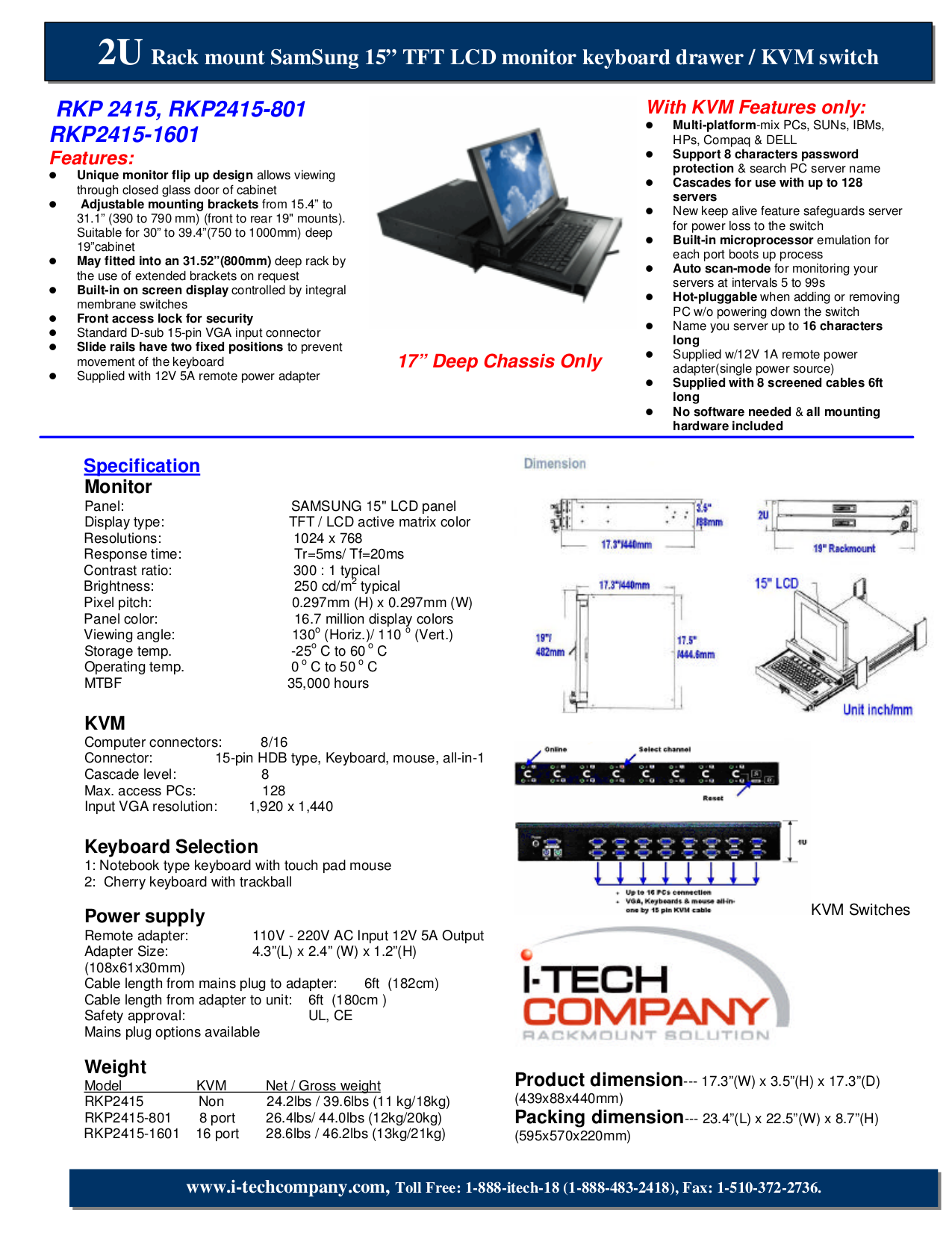 pdf for I-Tech Other RKP2415-1601 Keyboard Drawers manual