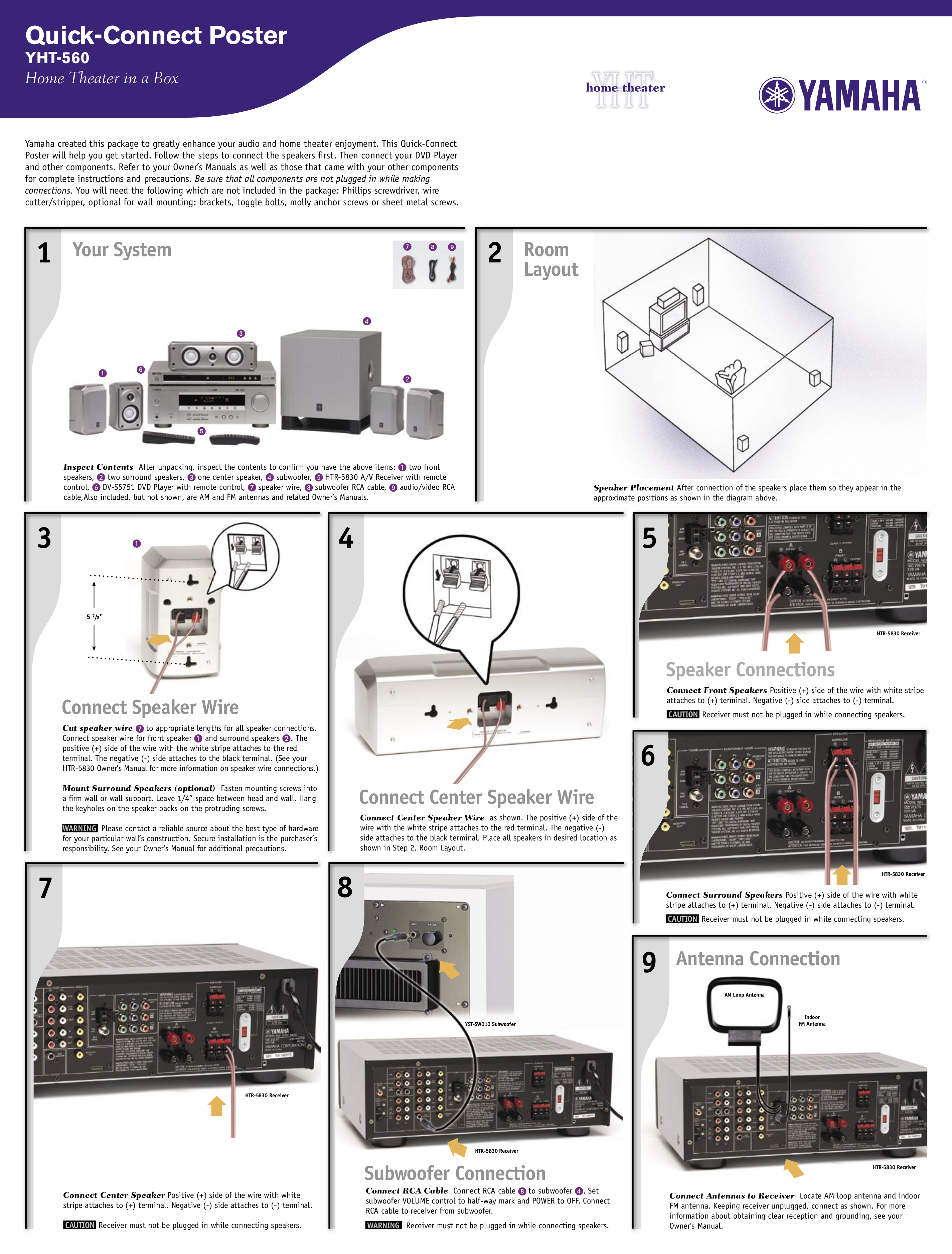Download free pdf for Yamaha YHT-560 Home Theater manual