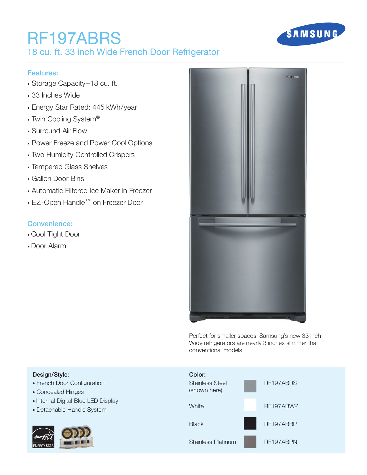 pdf for Samsung Refrigerator RF197AB manual
