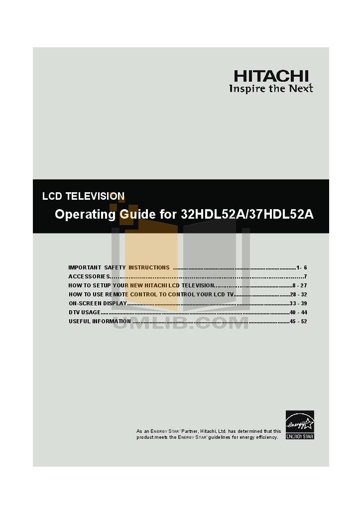 pdf for Hitachi TV 37HDL52A manual
