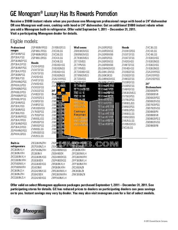 Download free pdf for GE Monogram ZBD6900PII Dishwasher manual