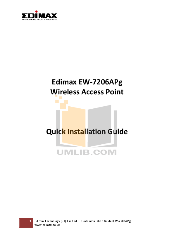 Edimax Wireless Router AR-7084gA pdf page preview