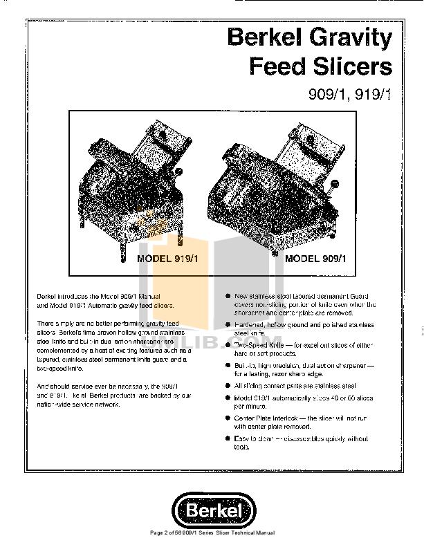 PDF manual for Berkel Other 909E Slicers