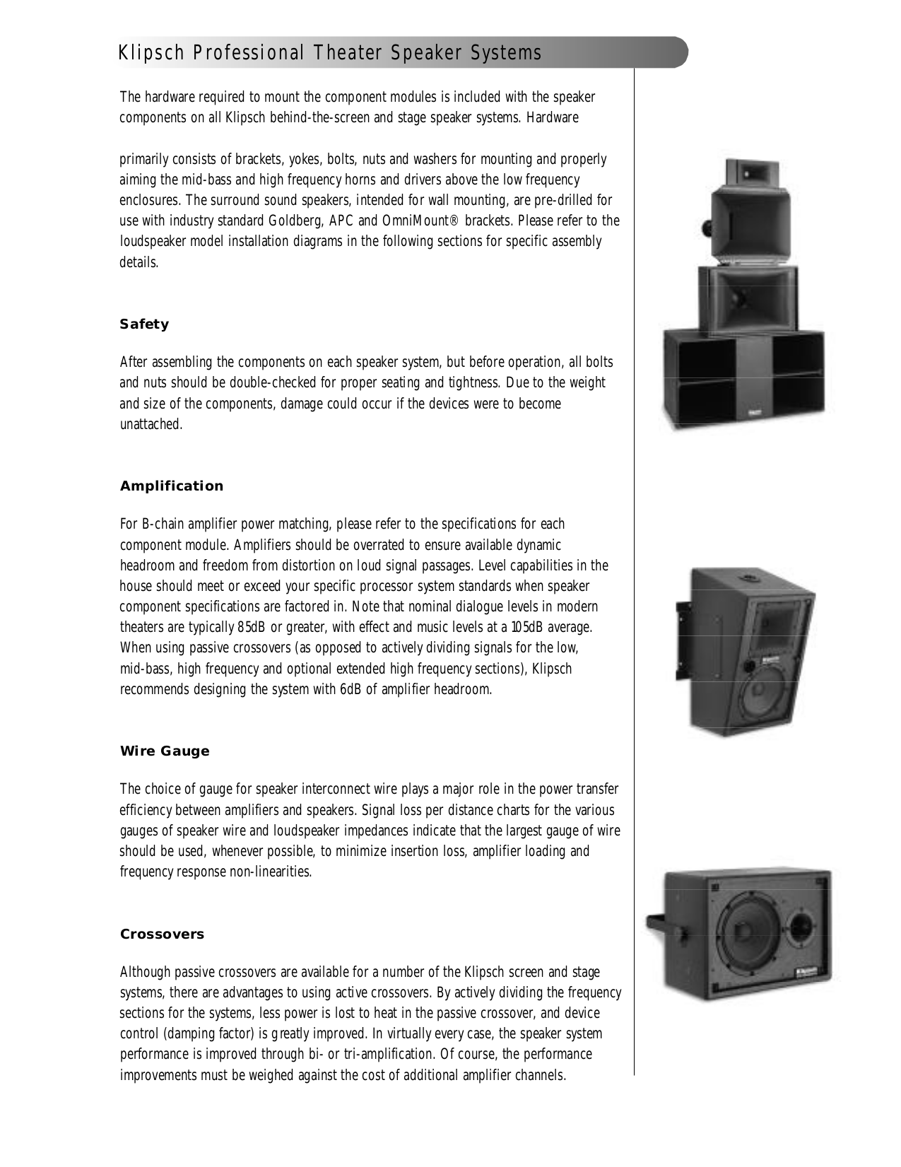 PDF manual for Klipsch Speaker KPT-MCM Grand