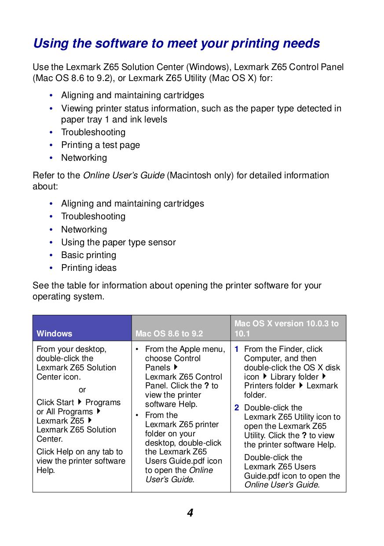 Lexmark Printer Z65n pdf page preview