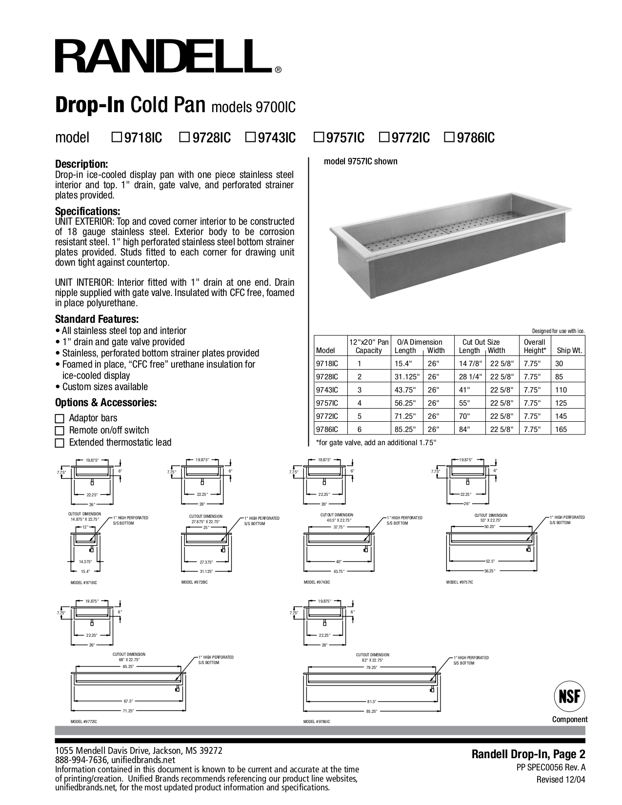 pdf for Randell Other 9718IC Cold Pans manual