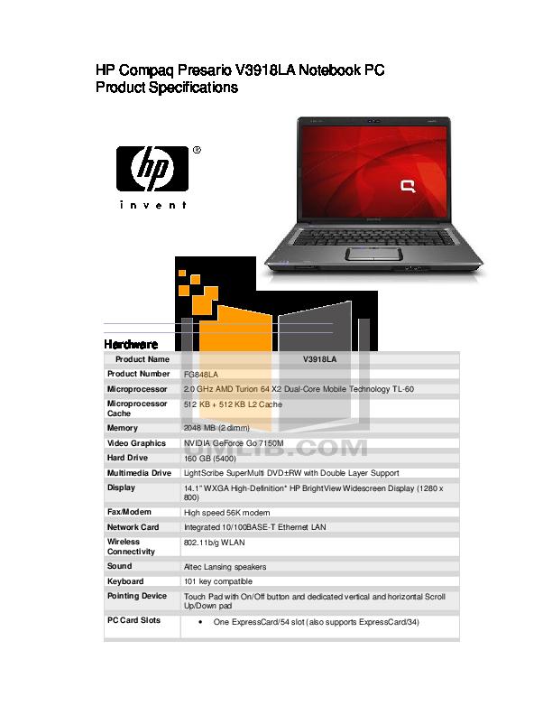 HP Compaq Presario,Presario V2008