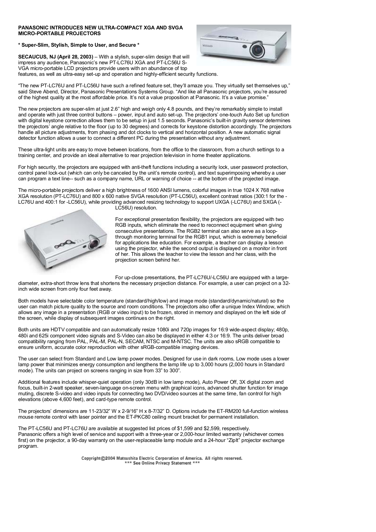 pdf for Panasonic Projector PT-LC56U manual