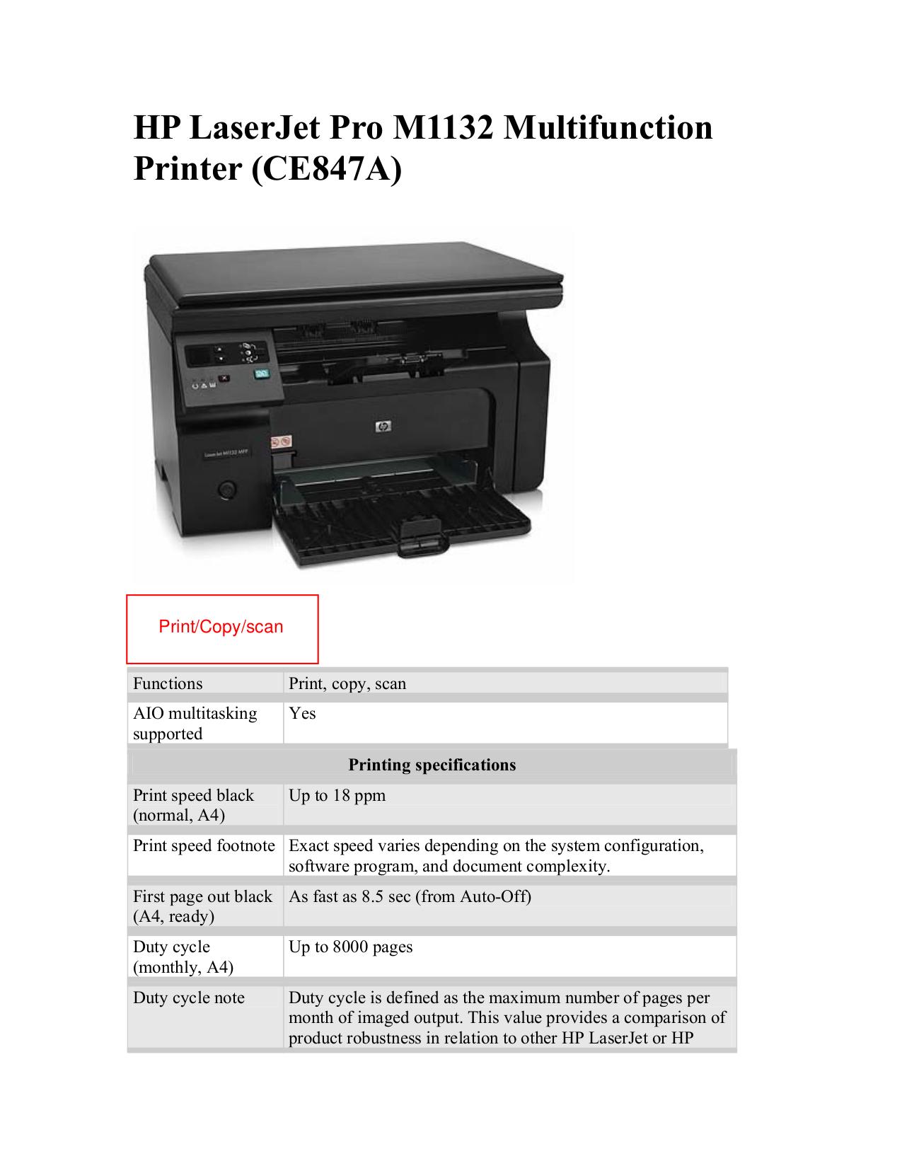 pdf for HP Multifunction Printer Laserjet,Color Laserjet Pro M1132 manual
