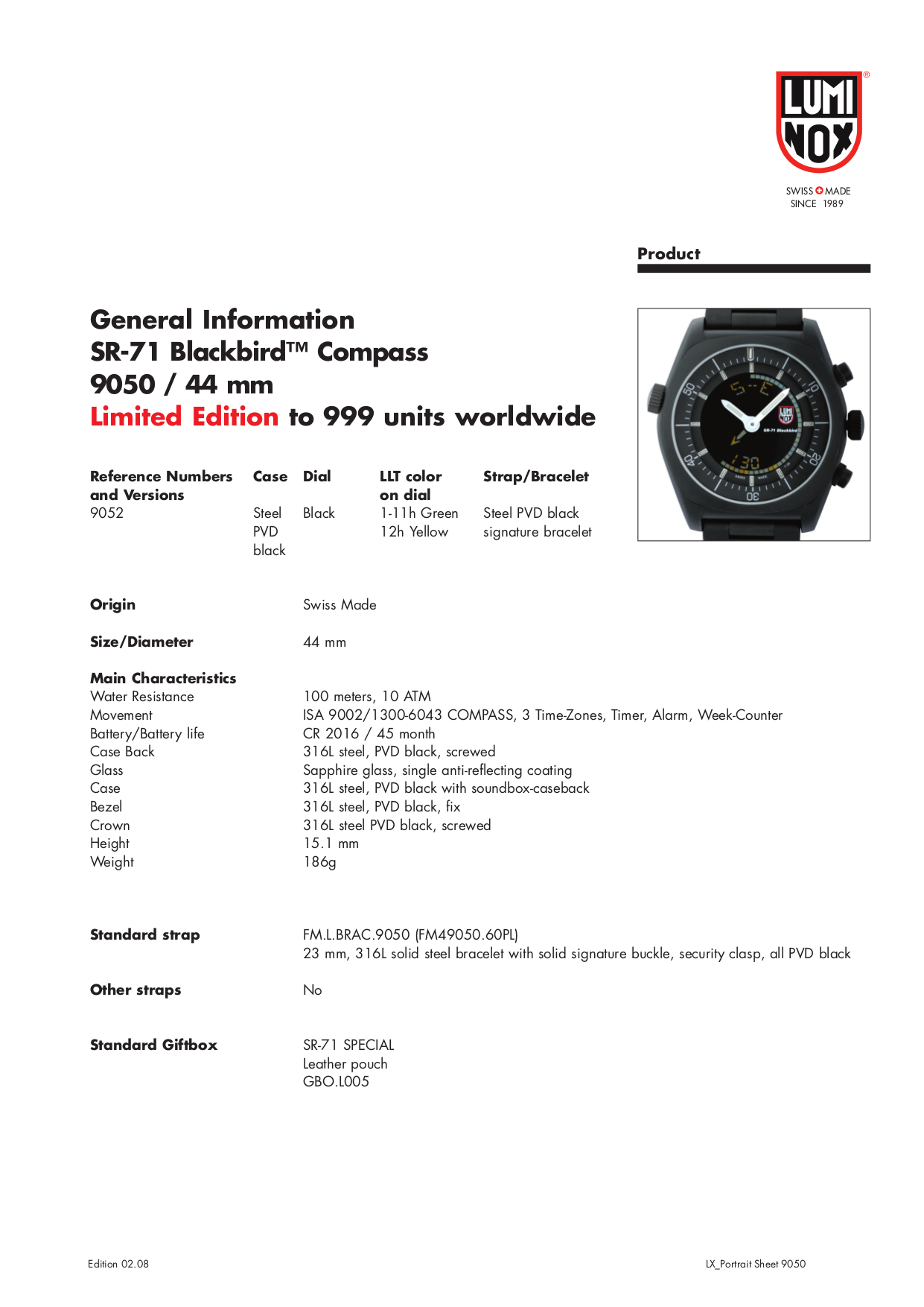 pdf for Luminox Watch SR-71 Blackbird 9002 manual