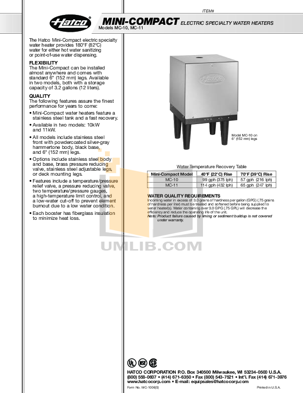 pdf for Hatco Other MC-11 manual